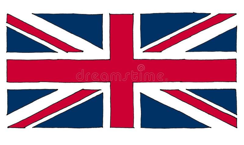英国(英国)亦称英国国旗的手拉的旗子 向量例证