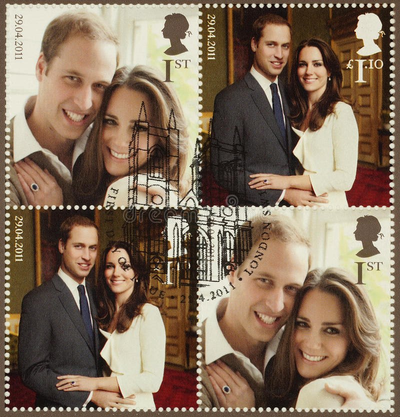 Kate Middleton和威廉Royal Wedding Stamps王子 库存照片