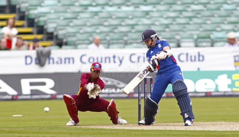 英国v印度西部妇女的T20国际蟋蟀比赛 免版税库存照片