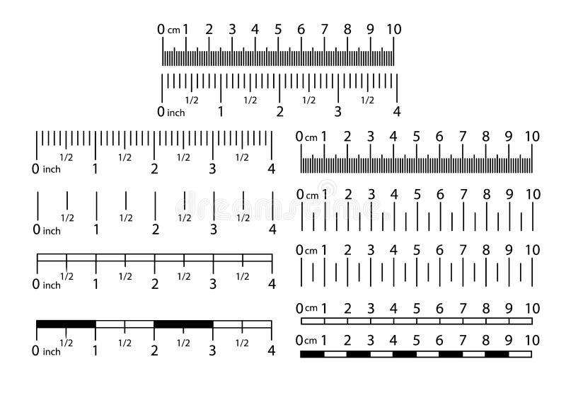 英寸和公尺统治者集合 厘米和英寸刻度尺cm度规显示 精密测量 库存例证