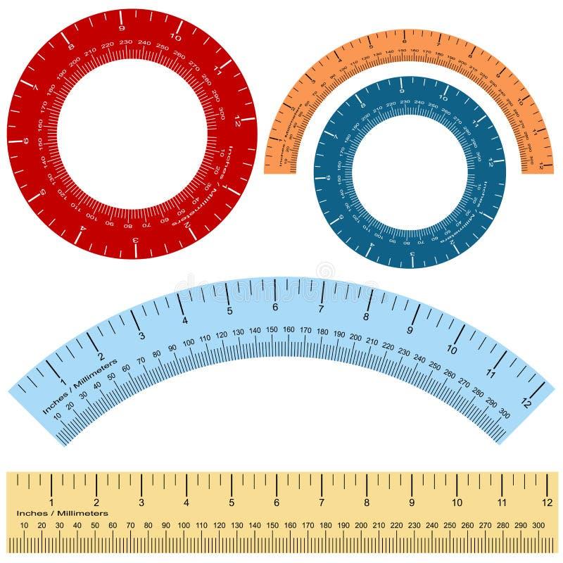 英寸毫米统治者集合形状 向量例证