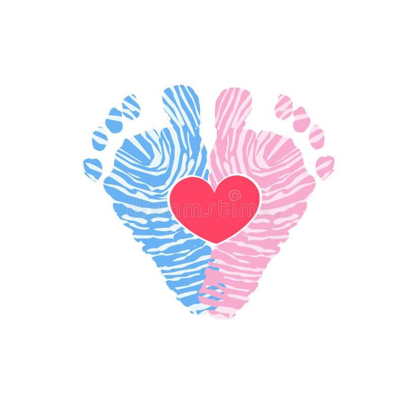 英尺例证进程步骤向量走 乳瓶女孩 男婴儿童车覆盖illusytration星期日 双婴孩象 婴孩性别显露 婴孩脚印刷品由指纹做成 皇族释放例证