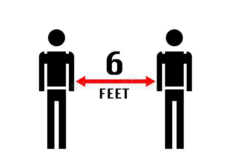 6英尺远保持距离警告标志COVID-19 冠状病毒暴发后社区社会疏离的指导 皇族释放例证