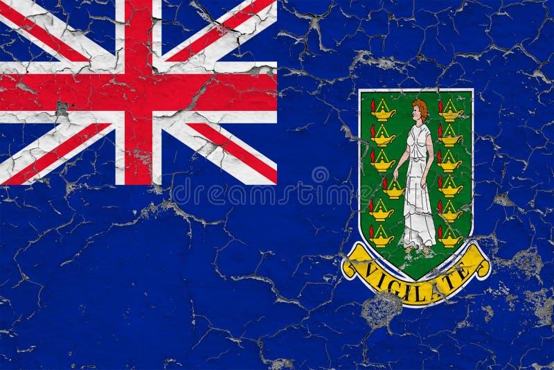 英属维尔京群岛的旗子在破裂的肮脏的墙壁上绘了 葡萄酒样式表面上的全国样式 皇族释放例证