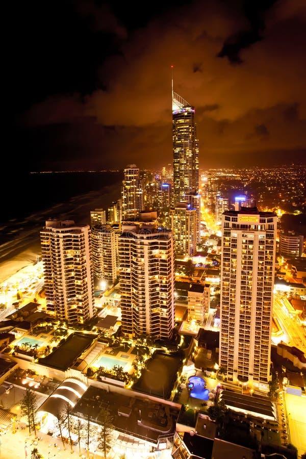 英属黄金海岸昆士兰澳大利亚Q1夜场面 库存照片