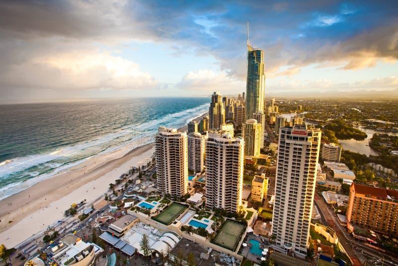 英属黄金海岸昆士兰澳大利亚Q1晚上场面 库存图片