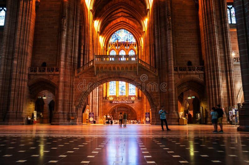英格兰教会英国国教大教堂的内部在利物浦,英国 免版税库存图片