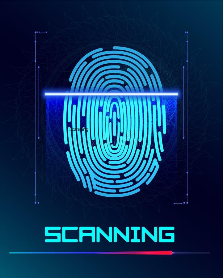 英格印刷品扫描鉴定系统 生物统计的授权和企业安全概念 也corel凹道例证向量 向量例证
