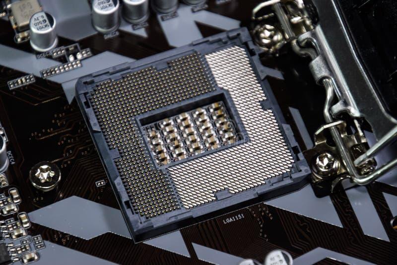 英特尔处理器的巢在主板 免版税库存图片