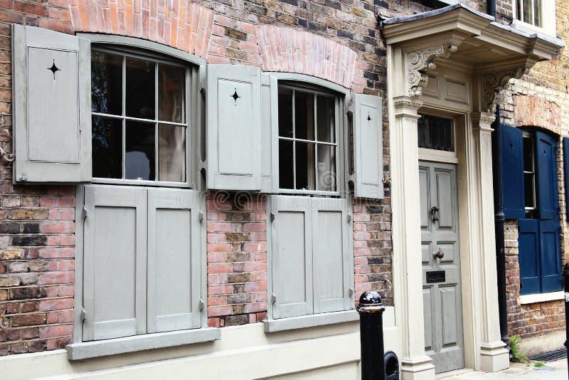 英王乔治一世至三世时期露台的房子在Spitafields 免版税库存照片
