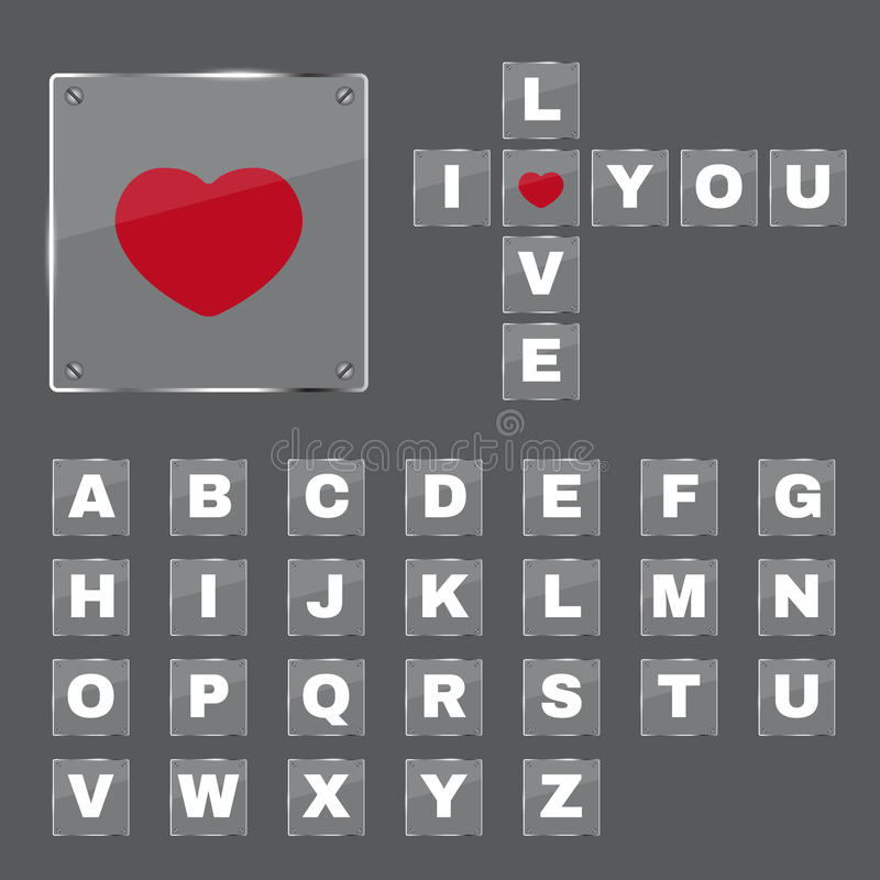 英语字母表和红色心脏在厚玻璃板传染媒介 皇族释放例证