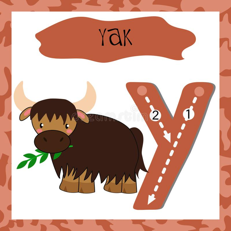 英语字母表滑稽的动物的滑稽的字母表信件Y 库存例证