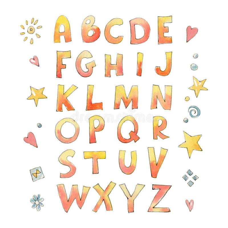 英语字母表的信件与一个天真样式的 皇族释放例证