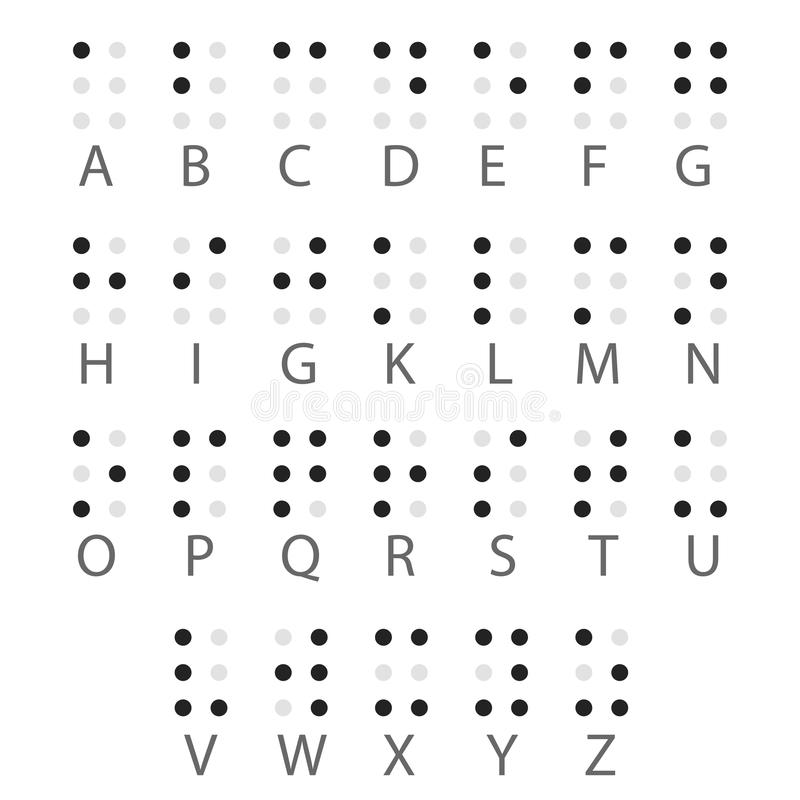 英语盲文字母表信件 向量 皇族释放例证