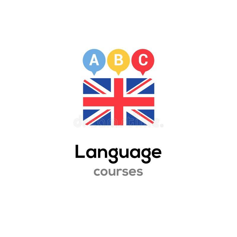 英语语言语言学院商标路线概念 传染媒介英语讲流利流程设计 库存例证