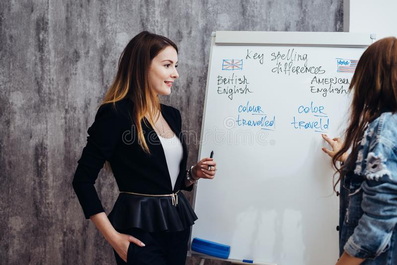 英语语言语言学院 两女生谈话在教室 免版税库存图片