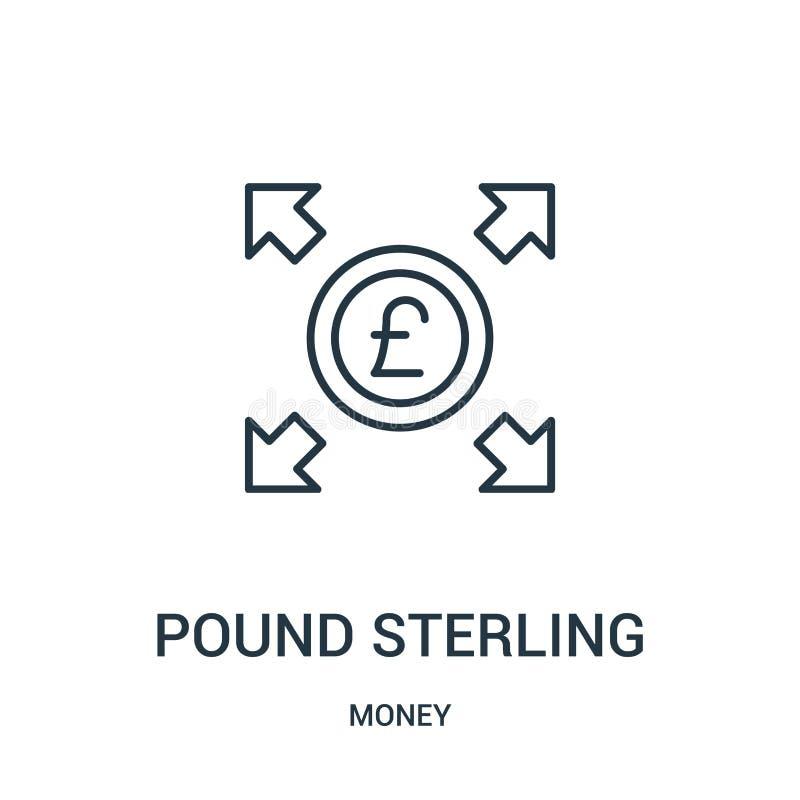 英镑从金钱汇集的象传染媒介 稀薄的线英镑概述象传染媒介例证 皇族释放例证