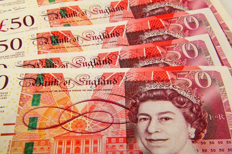 英镑传播50磅笔记 库存图片