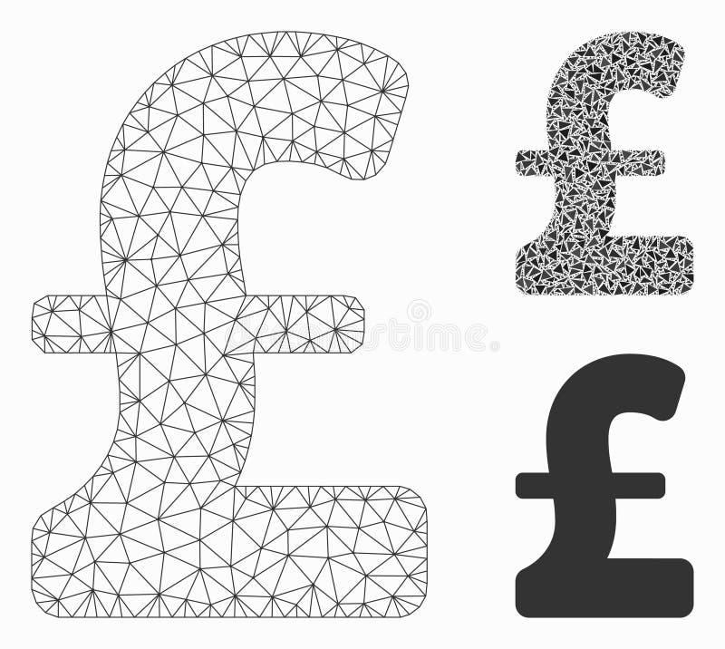 英镑传染媒介滤网接线框模型和三角马赛克象 皇族释放例证