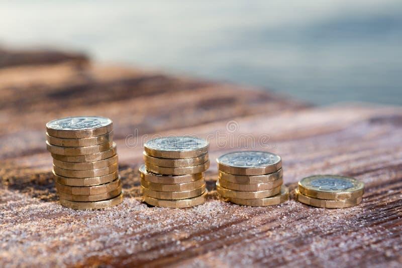 1英镑硬币堆 库存图片