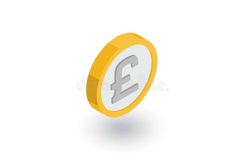 英镑硬币,货币等量平的象 3d向量 皇族释放例证