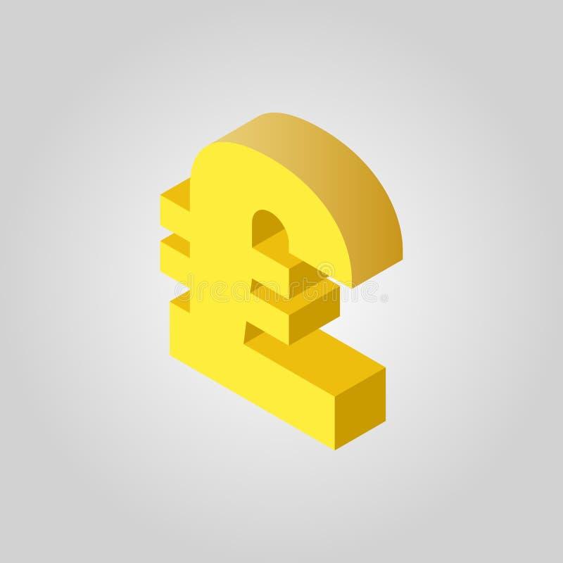 英镑象 现金和金钱,财富,付款, GBP标志 等量的3D 平的传染媒介 向量例证