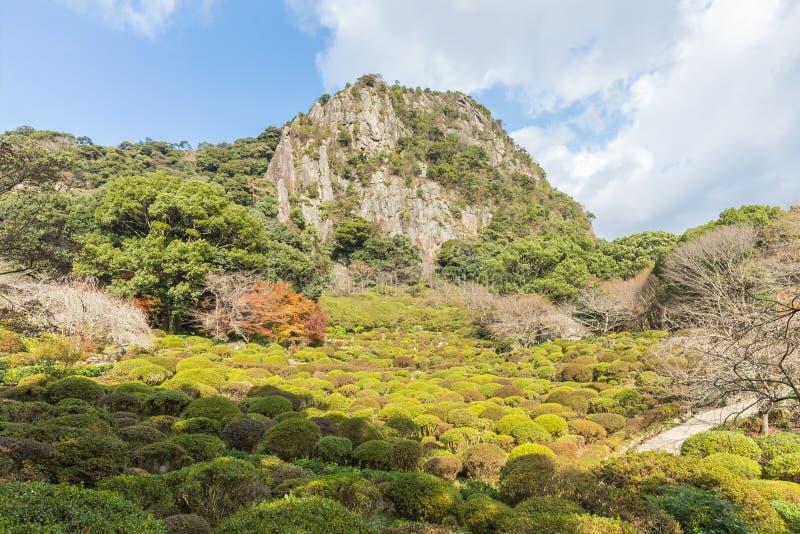 英雄传奇的Mifuneyama Rakuen庭院,北九州,日本 免版税图库摄影