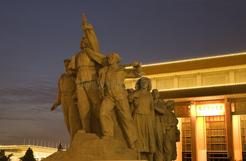 英雄毛方形雕象天安门坟茔 免版税库存图片