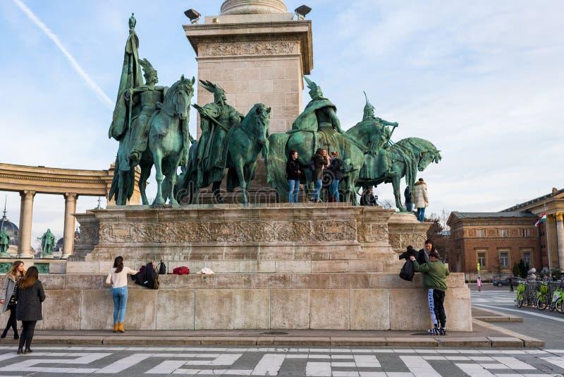 英雄`正方形千年纪念碑在布达佩斯,匈牙利, 2018年 库存图片