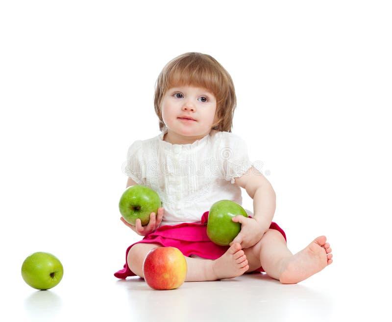 苹果健康儿童的食物 库存照片