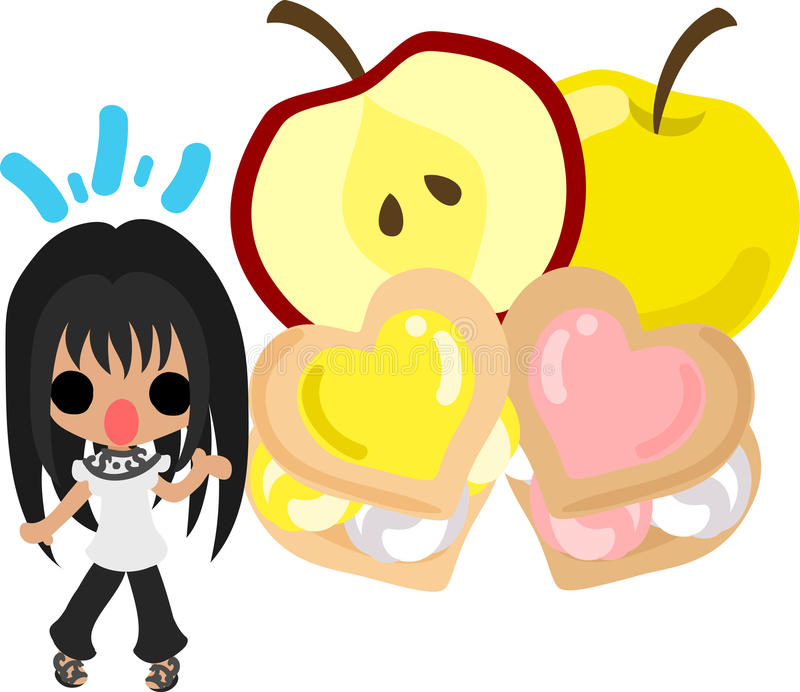 苹果和女孩的逗人喜爱的例证 皇族释放例证