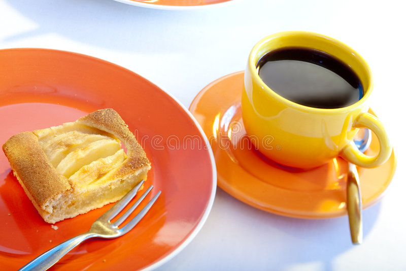 苹果咖啡饼 库存图片
