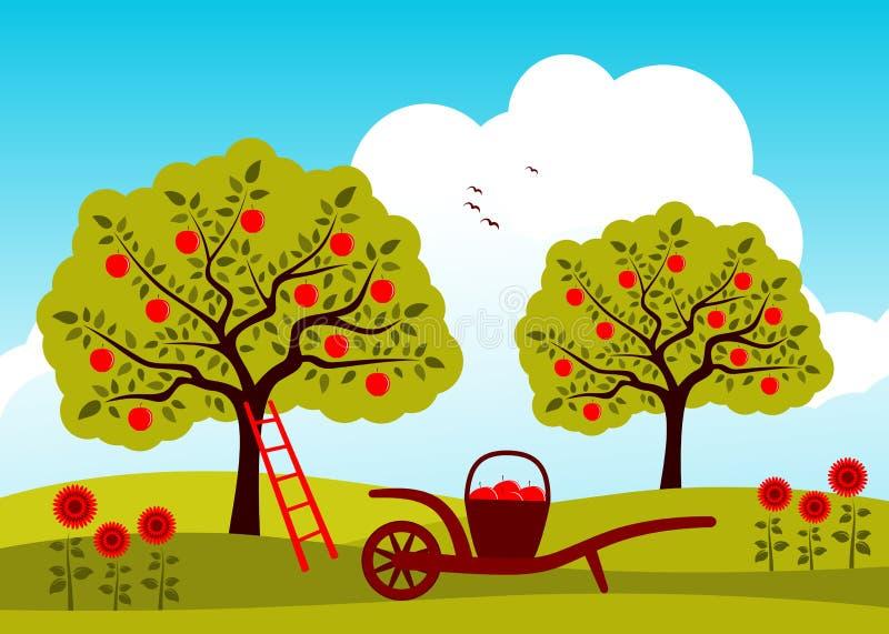 苹果园结构树 库存例证