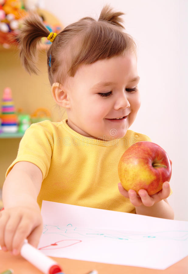 苹果女孩一点 免版税库存照片