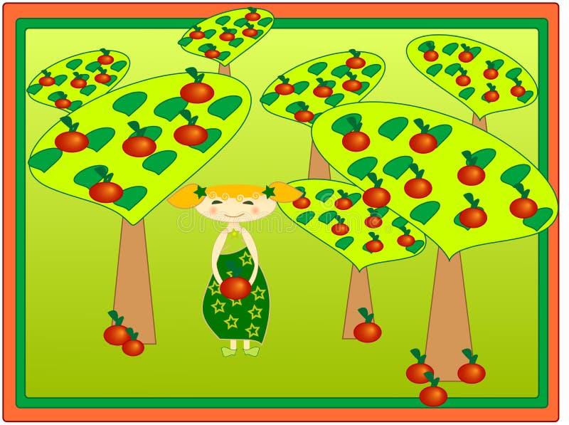 苹果女孩果树园 皇族释放例证