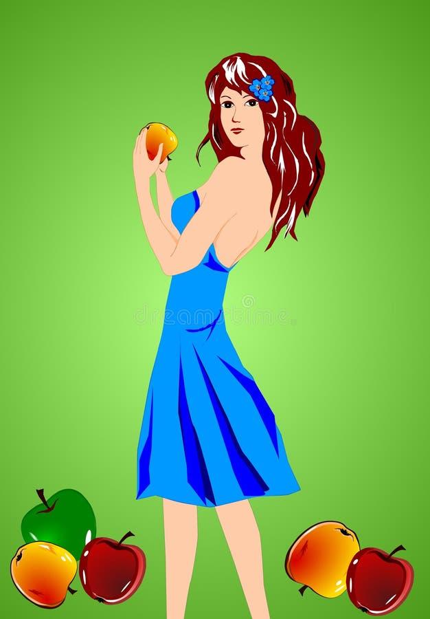 苹果女孩 向量例证