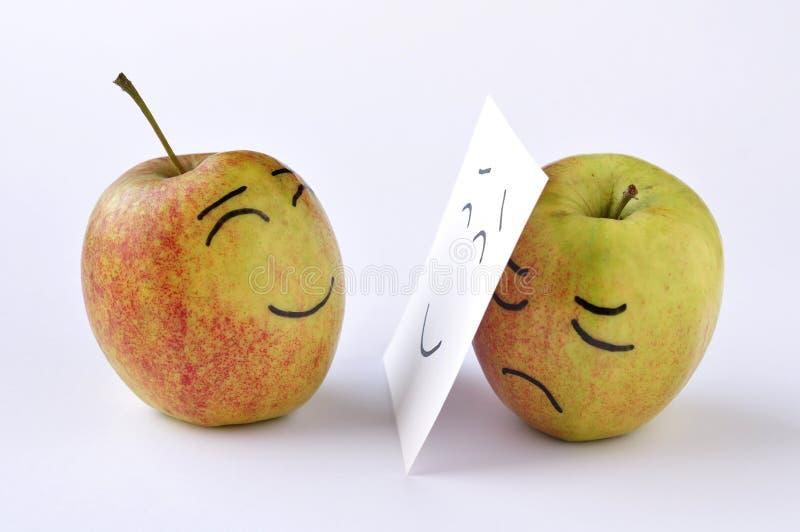 苹果悲伤 免版税库存照片