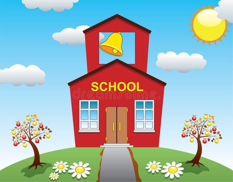 苹果房子学校结构树 库存例证