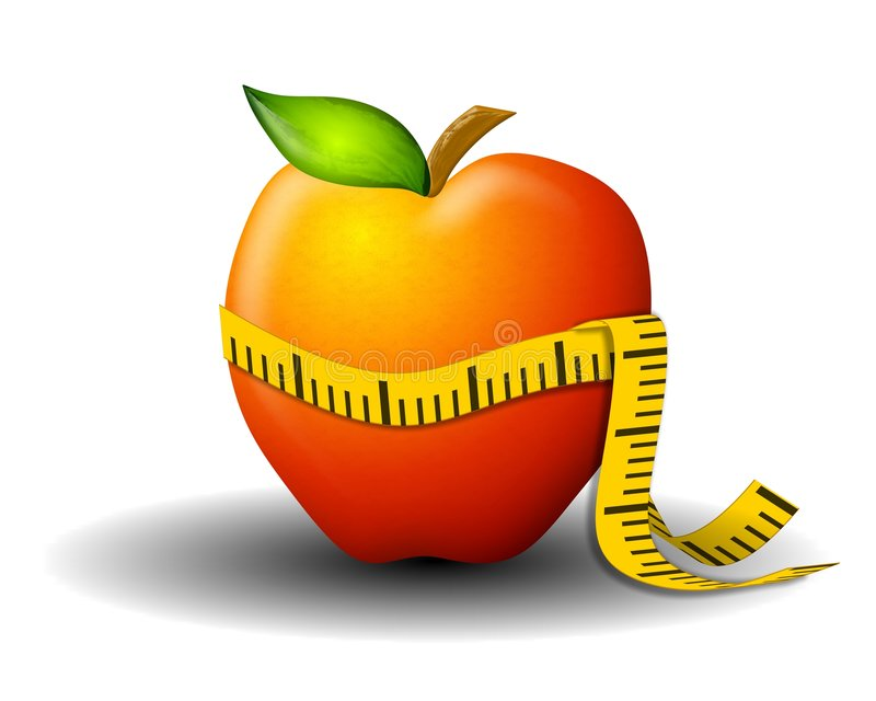 苹果损失评定的磁带重量 库存例证