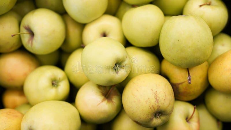 苹果收获食物纹理的顶视图 苹果在超级市场 库存照片