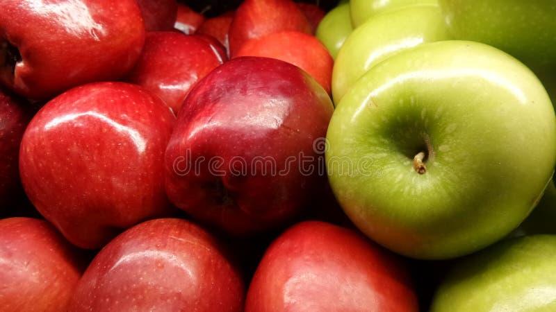 苹果新绿色红色 库存图片