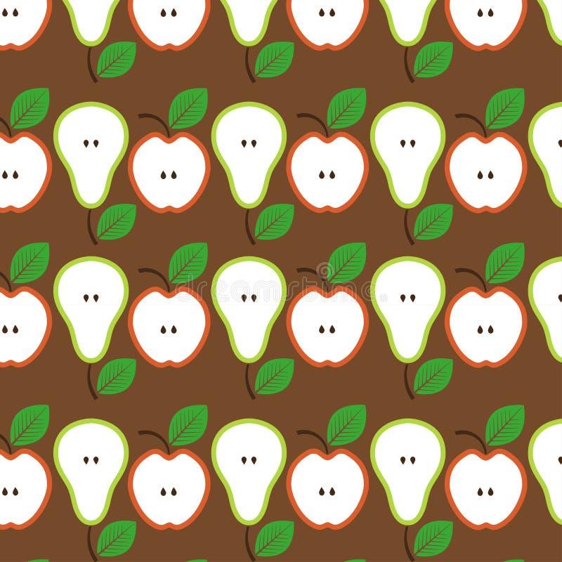 苹果无缝模式的梨 也corel凹道例证向量 库存照片