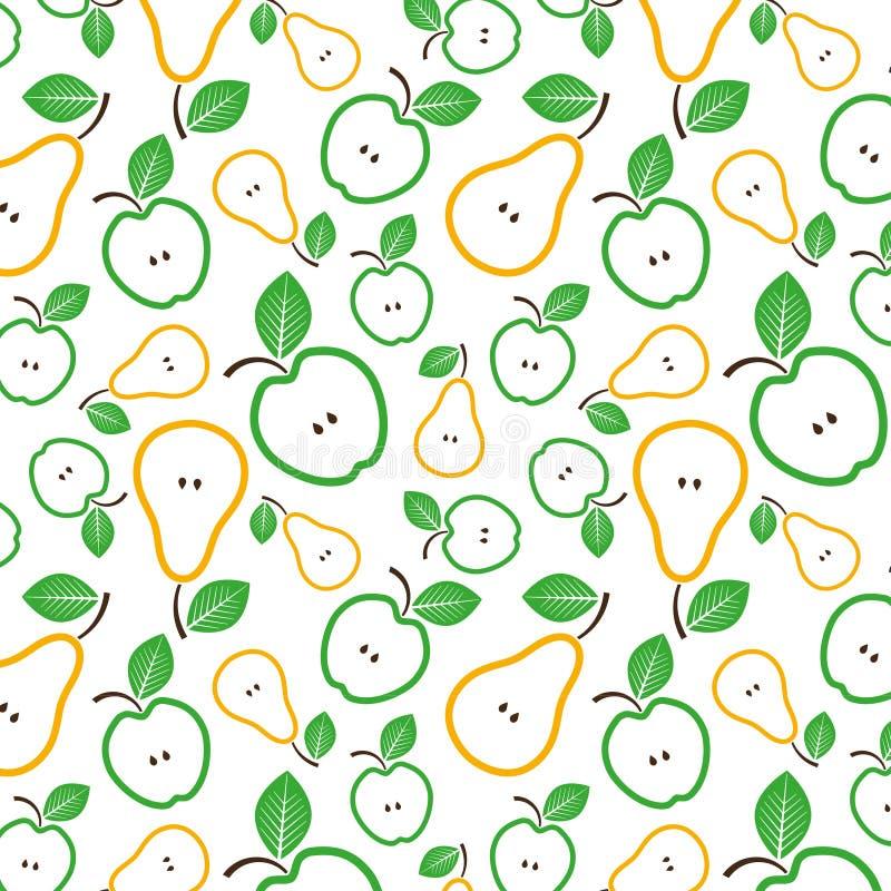 苹果无缝模式的梨 也corel凹道例证向量 免版税图库摄影