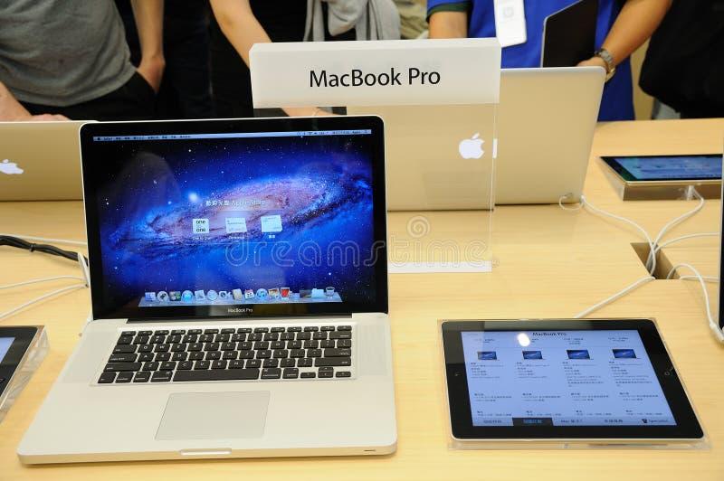 苹果显示macbook赞成存储 免版税库存图片