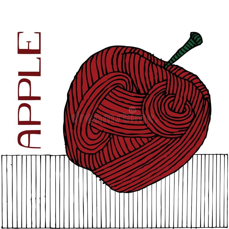 苹果木刻 皇族释放例证