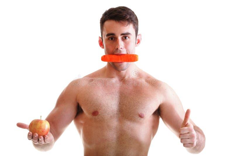苹果机体红萝卜饮食了不起的查出的人 免版税库存照片