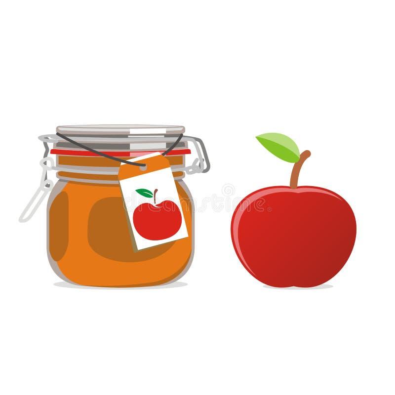 苹果果子查出的果酱瓶子红色 皇族释放例证