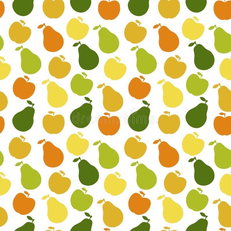 苹果果子模式梨无缝的向量 皇族释放例证