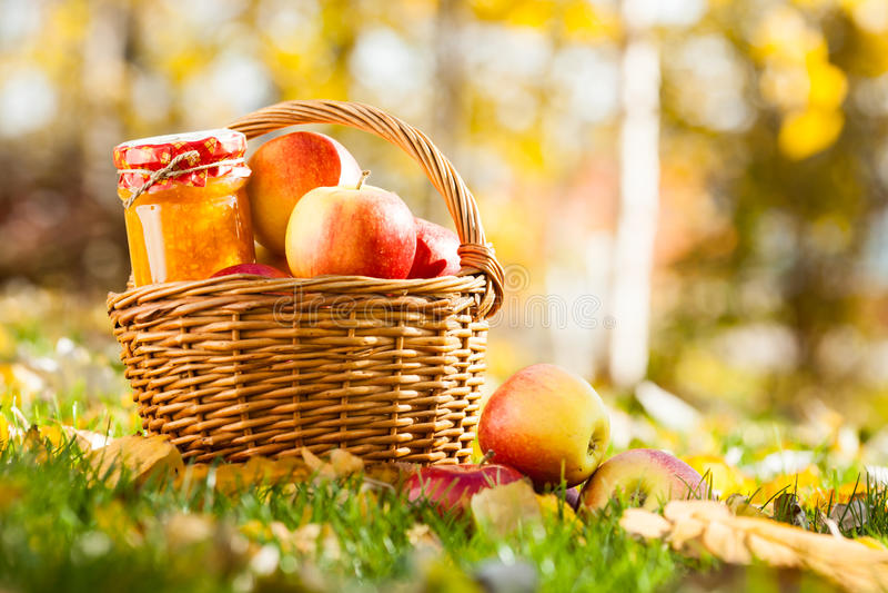 苹果果酱瓶子 库存照片
