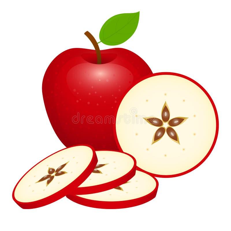 苹果查出的红色 向量例证